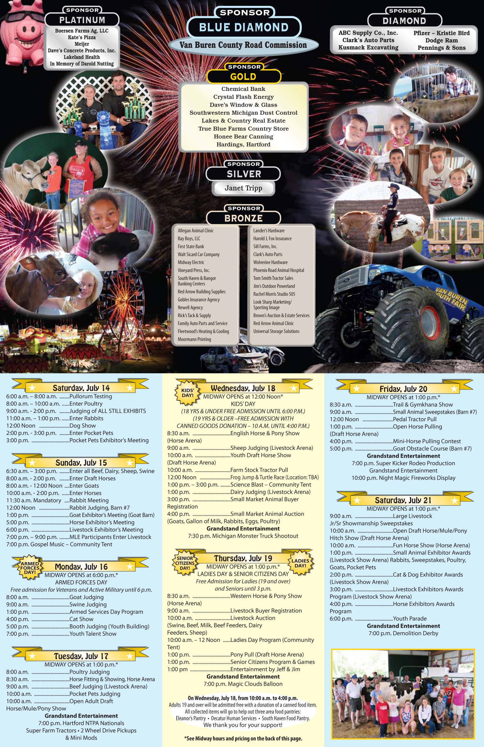 outlet store 232fe e32d2 Schedule   Van Buren Youth Fair